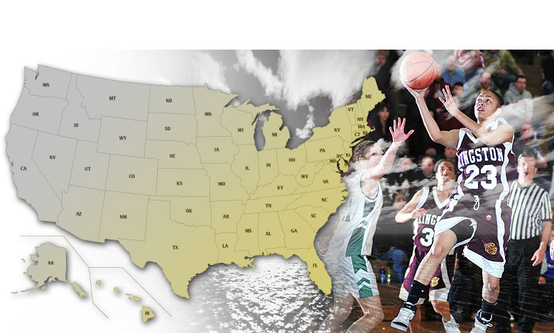 USA image map for high school Girls Basketball playoffs.