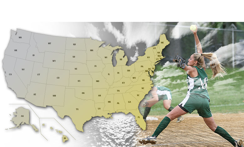 USA image map for high school Softball playoffs.